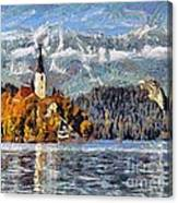 Lake Bled And Mountains Canvas Print