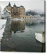 Lake In Front Of A Chateau, Chateau De Canvas Print