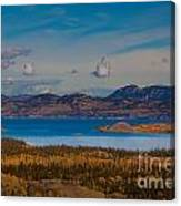 Lake Laberge And Surrounding Taiga In Fall Canvas Print