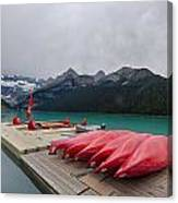 Lake Louise Canoes Canvas Print