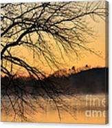 Lake Louise Sunrise Through The Trees Canvas Print