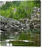 Lake Mcdonald Falls River Glacier National Park Canvas Print