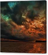 Lake Murray Fire Sky Canvas Print