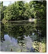 Lake On The Magnolia Plantation With White Bridge Canvas Print