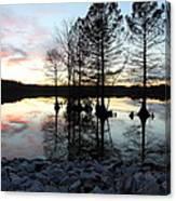 Lake Reflections At Sunset Canvas Print