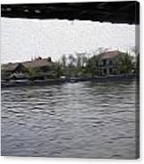Lake Resort Framed From A Houseboat Canvas Print