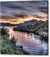 Lake Saguaro Sunset Canvas Print
