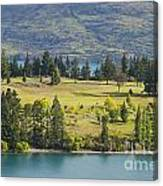 Lake Wakatipu And Queenstown Golf Course Canvas Print