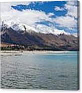 Lake Wakatipu And Snowy New Zealand Mountain Peaks Canvas Print
