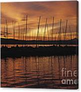 Lake Washington With Mount Rainier And Marina Canvas Print