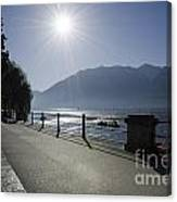 Lakefront With Sun Canvas Print