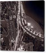 Lakeshore Drive Aloft Bw Warm Canvas Print