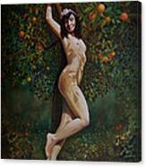 Lala Entre Las Naranjas Canvas Print