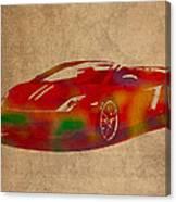 Lamborghini Gallardo 2013 Classic Sports Car Watercolor On Worn Distressed Canvas Canvas Print