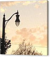 Lamp Post And Cotton Candy Sunset Canvas Print