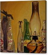 Lamp With Pop Bottles Canvas Print