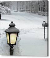 Lamppost In Snow Canvas Print