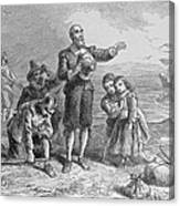 Landing Of The Pilgrims, 1620, Engraved By A. Bollett, From Harpers Monthly, 1857 Engraving B&w Canvas Print