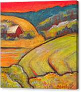 Landscape Art Orange Sky Farm Canvas Print