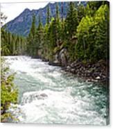 Landscape Of Mcdonald Creek Upstream In Spring In Glacier Np-mt Canvas Print