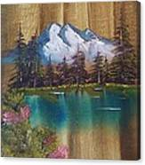 Landscape On Old Barn Siding Canvas Print