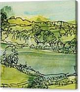 Landscape Pen & Ink With Wc On Paper Canvas Print