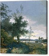 Landscape With A Fox Chasing Geese Canvas Print