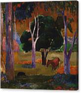 Landscape With A Pig And Horse Canvas Print
