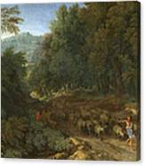 Landscape With A Shepherd And His Flock Canvas Print
