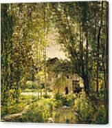 Landscape With A Sunlit Stream Canvas Print