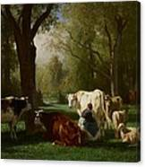 Landscape With Cattle And Sheep Canvas Print