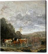 Landscape With Cattle Canvas Print