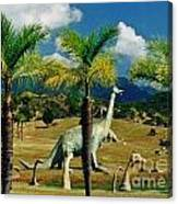 Landscape With Dinosaurs Canvas Print