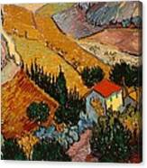 Landscape With House And Ploughman Canvas Print