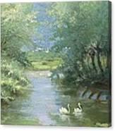 Landscape With Swans Canvas Print