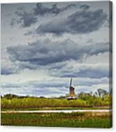 Landscape With The Dezwaan Dutch Windmill On Windmill Island In Holland Michigan Canvas Print