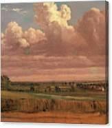 Landscape With Wheatfield Cornfield Under Heavy Cloud Canvas Print