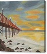 Landscapes Art - Sunset On The Rocks Oil Painting Canvas Print
