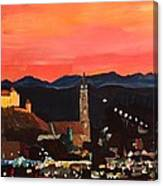 Landshut At Dawn With Alps Canvas Print