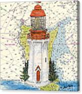 Langara Pt Lighthouse Bc Canada Nautical Chart Map Art Canvas Print