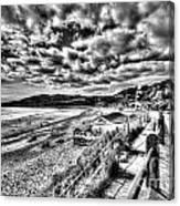 Langland Bay Mono Canvas Print