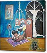 Languid Lady In A Chair Brooding Over Poetry Canvas Print