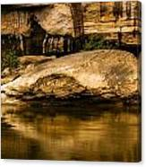Large Rock In Cumberland River Canvas Print