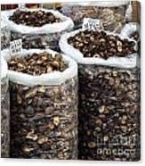Large Sacks With Dried Mushrooms Canvas Print