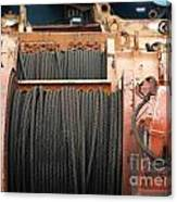 Large Winch With Steel Cable Canvas Print