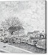 Larry Hill Vintage Car Lot Canvas Print
