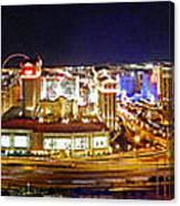 Las Vegas At Night - Panorama Canvas Print