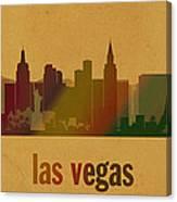 Las Vegas Skyline Watercolor On Parchment Canvas Print