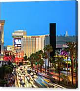 Las Vegas Strip At Dusk With Hotels And Canvas Print