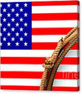 Lasso And American Flag Canvas Print